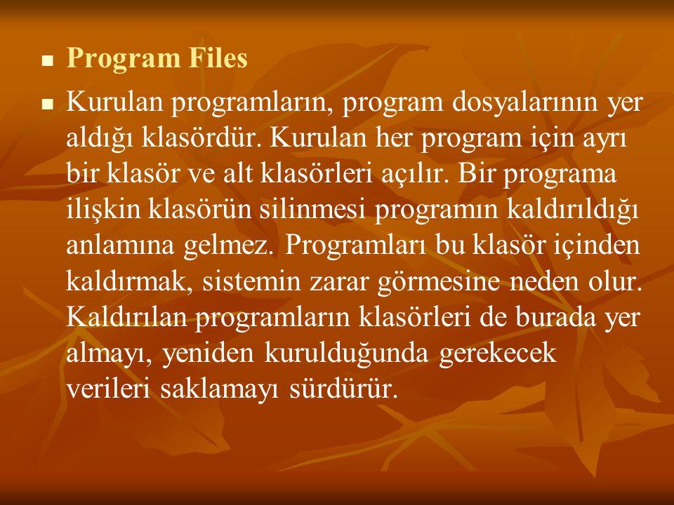 Program Files Kurulan programların, program dosyalarının yer aldığı klasördür.