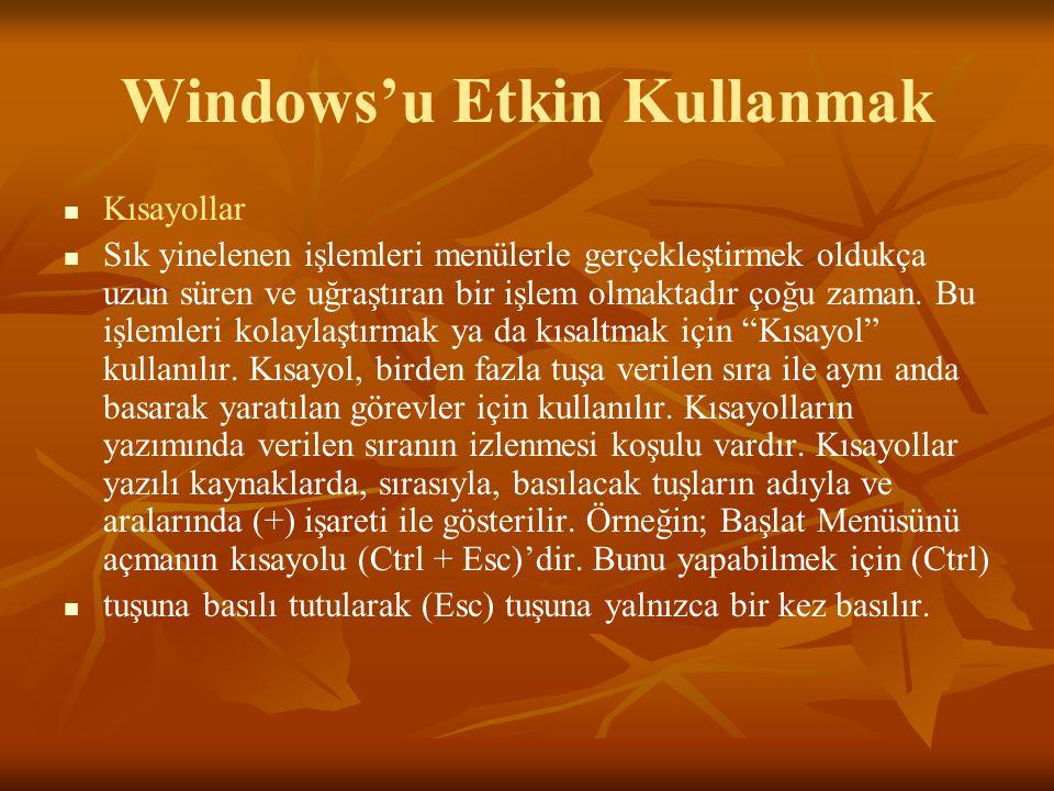 Windows'u Etkin Kullanmak Kısayollar Sık yinelenen işlemleri menülerle gerçekleştirmek oldukça uzun süren ve uğraştıran bir işlem olmaktadır çoğu zaman.