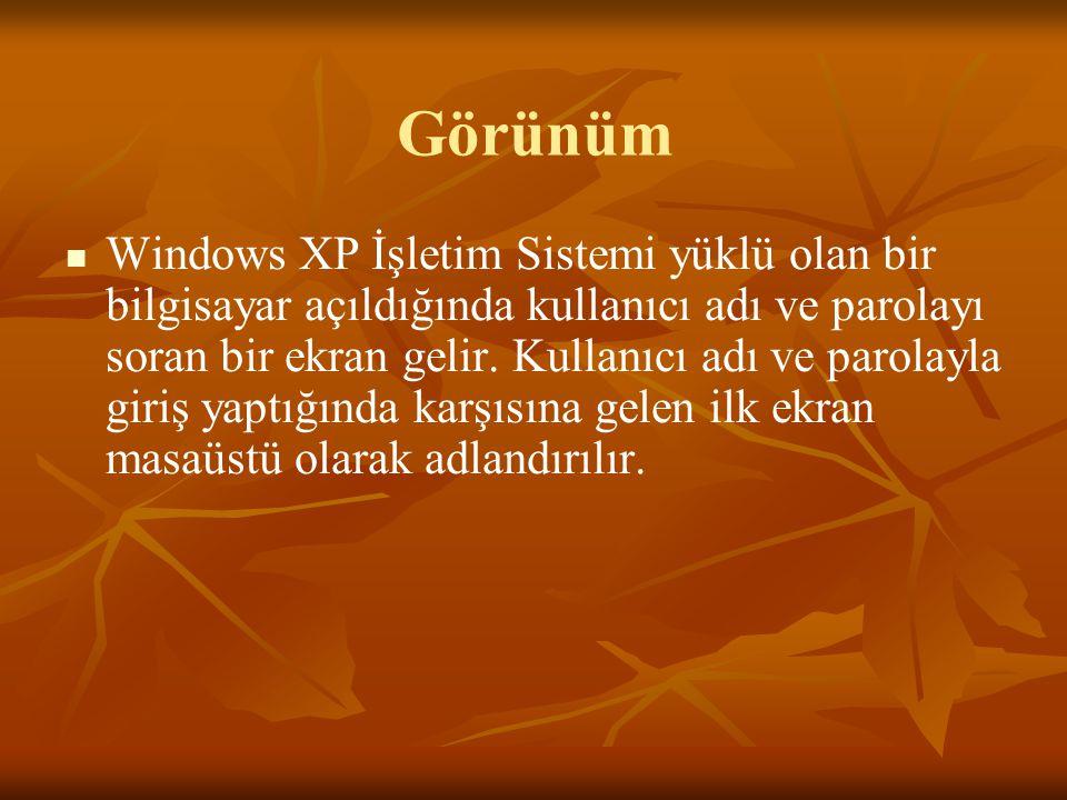 Görünüm Windows XP İşletim Sistemi yüklü olan bir bilgisayar açıldığında kullanıcı adı ve parolayı soran bir ekran gelir.
