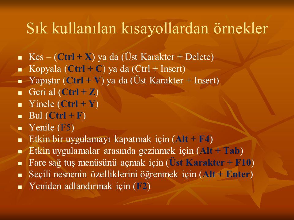 Sık kullanılan kısayollardan örnekler Kes – (Ctrl + X) ya da (Üst Karakter + Delete) Kopyala (Ctrl + C) ya da (Ctrl + Insert) Yapıştır (Ctrl + V) ya da (Üst Karakter + Insert) Geri al (Ctrl + Z) Yinele (Ctrl + Y) Bul (Ctrl + F) Yenile (F5) Etkin bir uygulamayı kapatmak için (Alt + F4) Etkin uygulamalar arasında gezinmek için (Alt + Tab) Fare sağ tuş menüsünü açmak için (Üst Karakter + F10) Seçili nesnenin özelliklerini öğrenmek için (Alt + Enter) Yeniden adlandırmak için (F2)