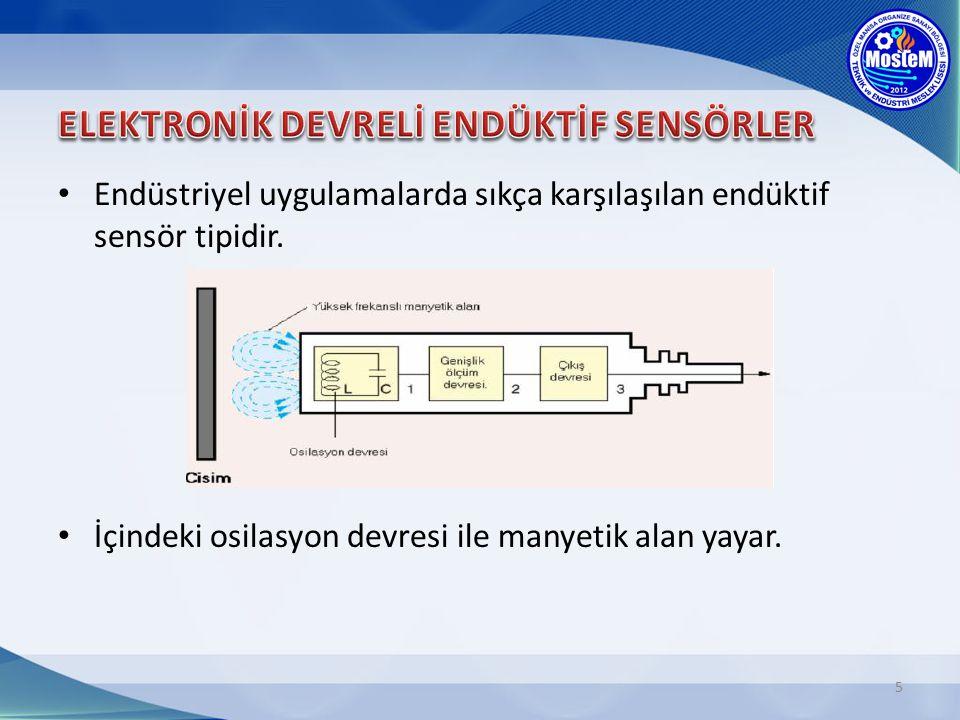 Endüstriyel uygulamalarda sıkça karşılaşılan endüktif sensör tipidir.