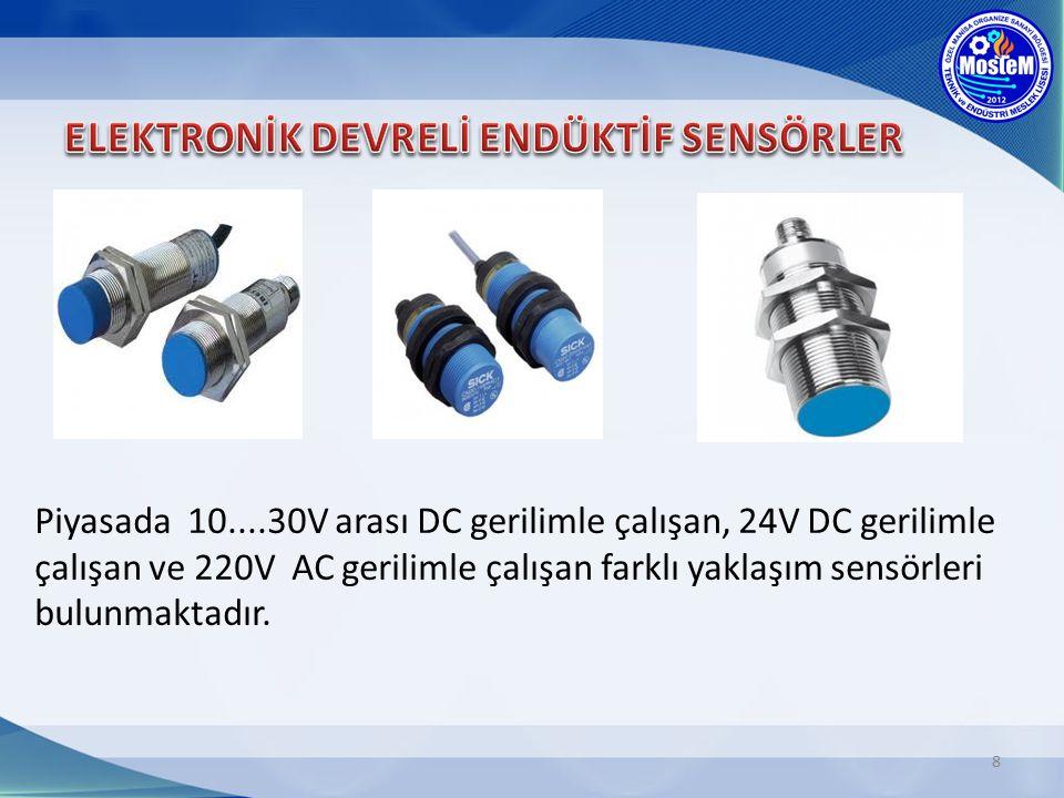 8 Piyasada 10....30V arası DC gerilimle çalışan, 24V DC gerilimle çalışan ve 220V AC gerilimle çalışan farklı yaklaşım sensörleri bulunmaktadır.