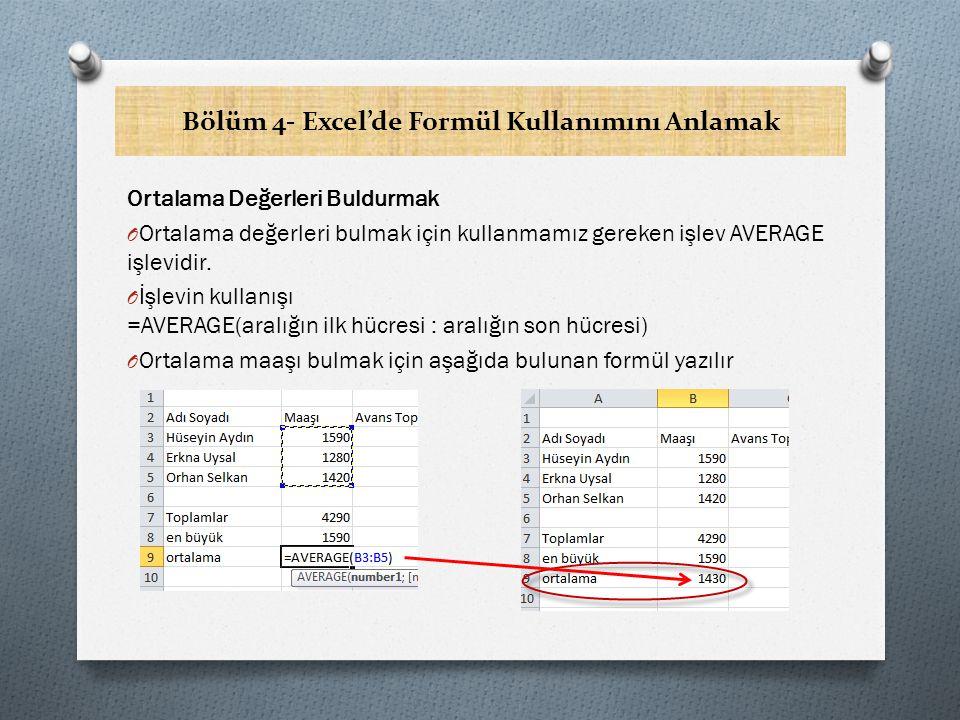 Bölüm 4- Excel'de Formül Kullanımını Anlamak Ortalama Değerleri Buldurmak O Ortalama değerleri bulmak için kullanmamız gereken işlev AVERAGE işlevidir.