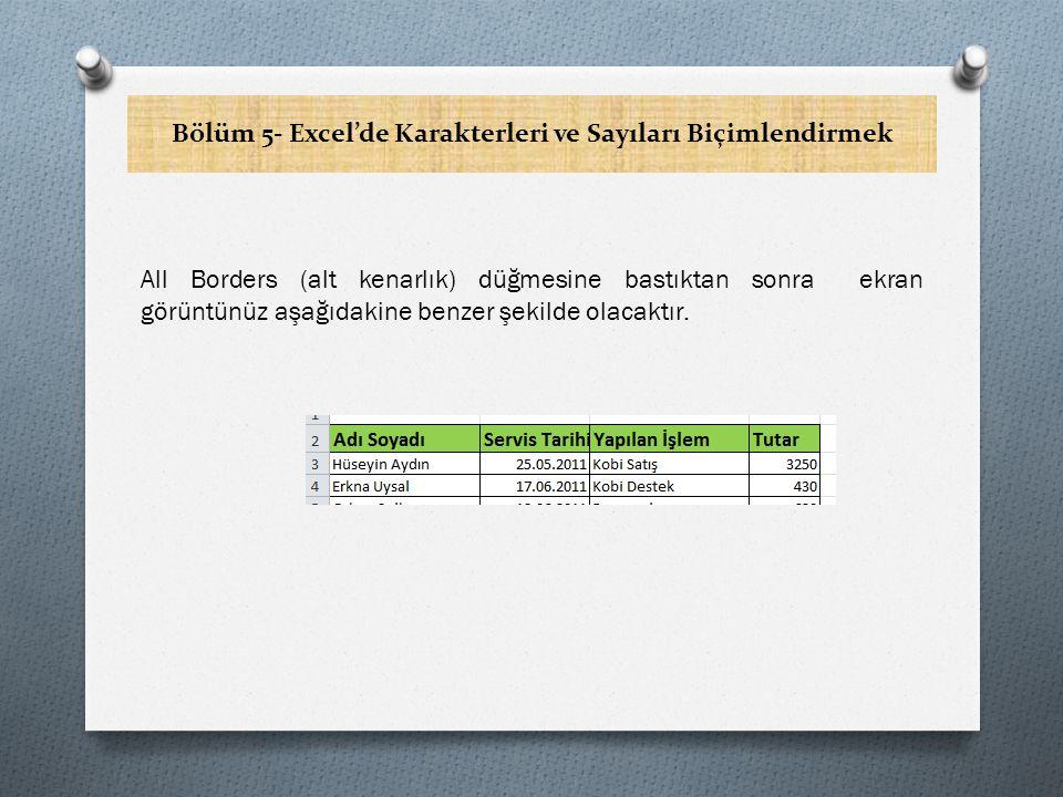 Bölüm 5- Excel'de Karakterleri ve Sayıları Biçimlendirmek All Borders (alt kenarlık) düğmesine bastıktan sonra ekran görüntünüz aşağıdakine benzer şekilde olacaktır.