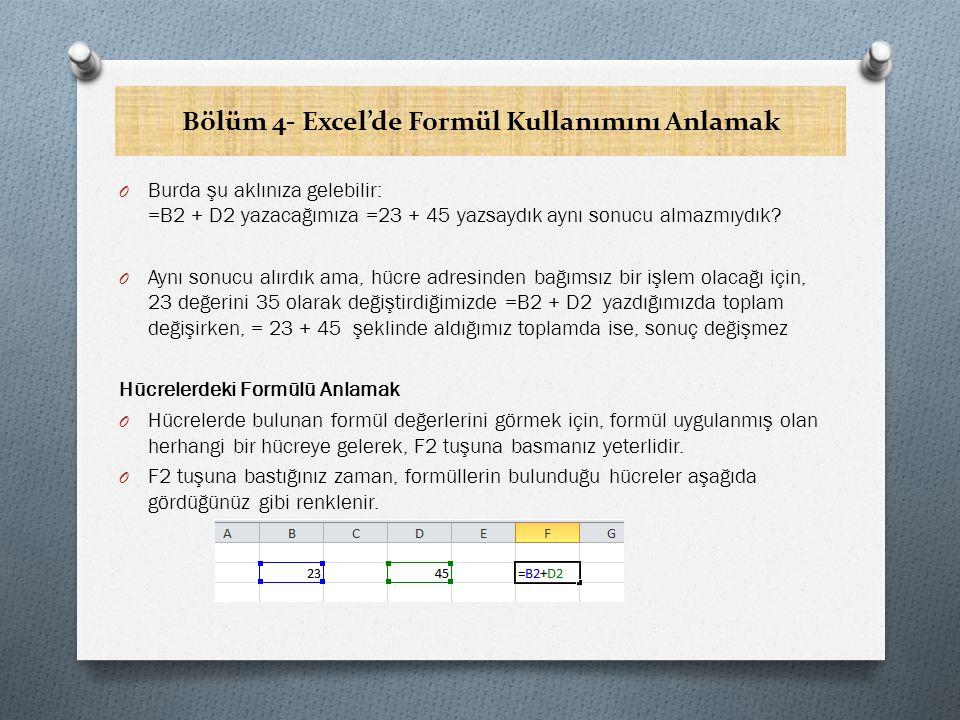 Bölüm 4- Excel'de Formül Kullanımını Anlamak O Burda şu aklınıza gelebilir: =B2 + D2 yazacağımıza =23 + 45 yazsaydık aynı sonucu almazmıydık.