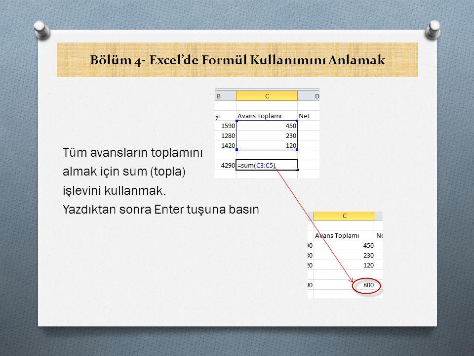 Bölüm 4- Excel'de Formül Kullanımını Anlamak Tüm avansların toplamını almak için sum (topla) işlevini kullanmak.