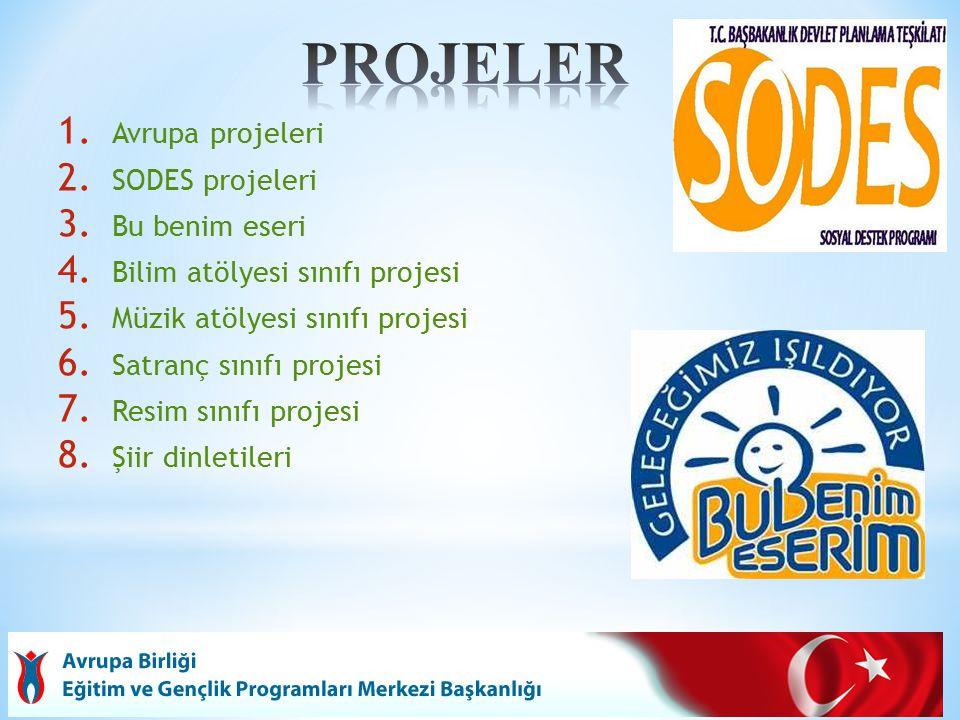 1. Avrupa projeleri 2. SODES projeleri 3. Bu benim eseri 4.