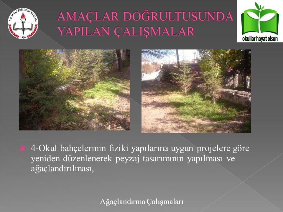  4-Okul bahçelerinin fiziki yapılarına uygun projelere göre yeniden düzenlenerek peyzaj tasarımının yapılması ve ağaçlandırılması, Ağaçlandırma Çalışmaları