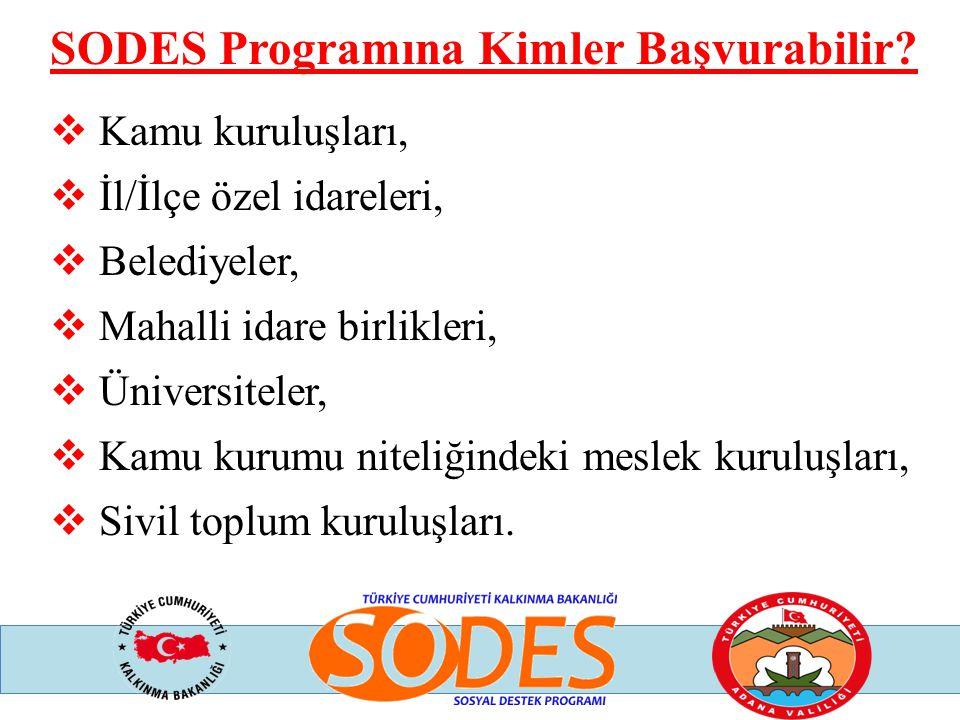 SODES Programına Kimler Başvurabilir?  Kamu kuruluşları,  İl/İlçe özel idareleri,  Belediyeler,  Mahalli idare birlikleri,  Üniversiteler,  Kamu