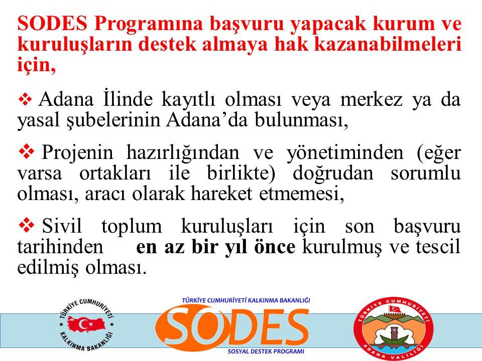 SODES Programına başvuru yapacak kurum ve kuruluşların destek almaya hak kazanabilmeleri için,  Adana İlinde kayıtlı olması veya merkez ya da yasal ş