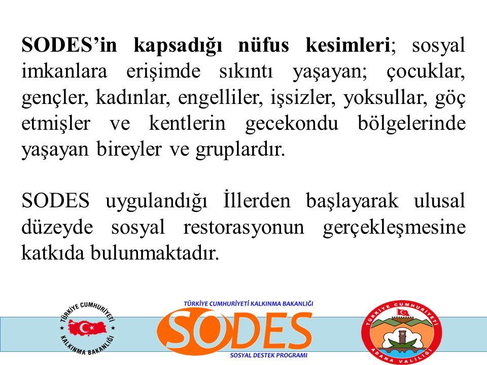 SODES Programına başvuru yapacak kurum ve kuruluşların destek almaya hak kazanabilmeleri için,  Adana İlinde kayıtlı olması veya merkez ya da yasal şubelerinin Adana'da bulunması,  Projenin hazırlığından ve yönetiminden (eğer varsa ortakları ile birlikte) doğrudan sorumlu olması, aracı olarak hareket etmemesi,  Sivil toplum kuruluşları için son başvuru tarihinden en az bir yıl önce kurulmuş ve tescil edilmiş olması.