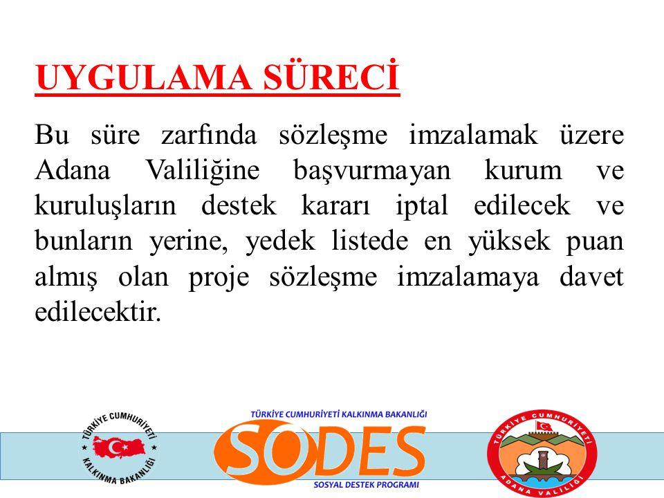UYGULAMA SÜRECİ Bu süre zarfında sözleşme imzalamak üzere Adana Valiliğine başvurmayan kurum ve kuruluşların destek kararı iptal edilecek ve bunların