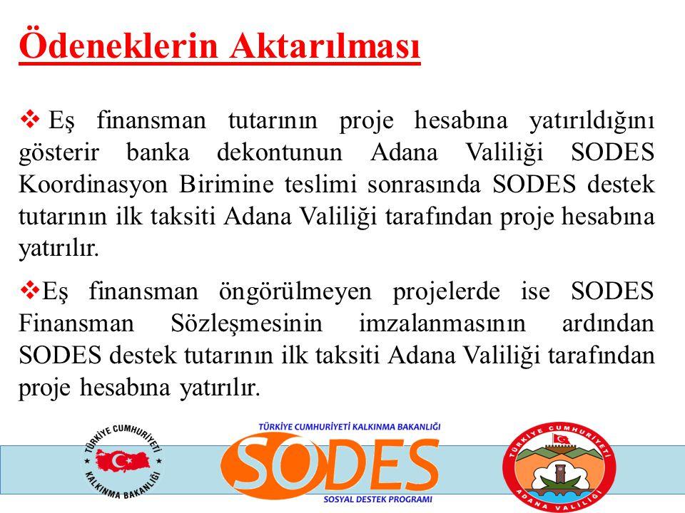 Ödeneklerin Aktarılması  Eş finansman tutarının proje hesabına yatırıldığını gösterir banka dekontunun Adana Valiliği SODES Koordinasyon Birimine tes