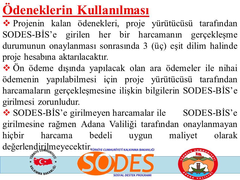 Ödeneklerin Kullanılması  Projenin kalan ödenekleri, proje yürütücüsü tarafından SODES-BİS'e girilen her bir harcamanın gerçekleşme durumunun onaylan