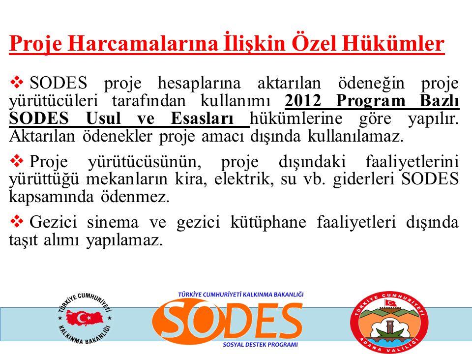 Proje Harcamalarına İlişkin Özel Hükümler  SODES proje hesaplarına aktarılan ödeneğin proje yürütücüleri tarafından kullanımı 2012 Program Bazlı SODE