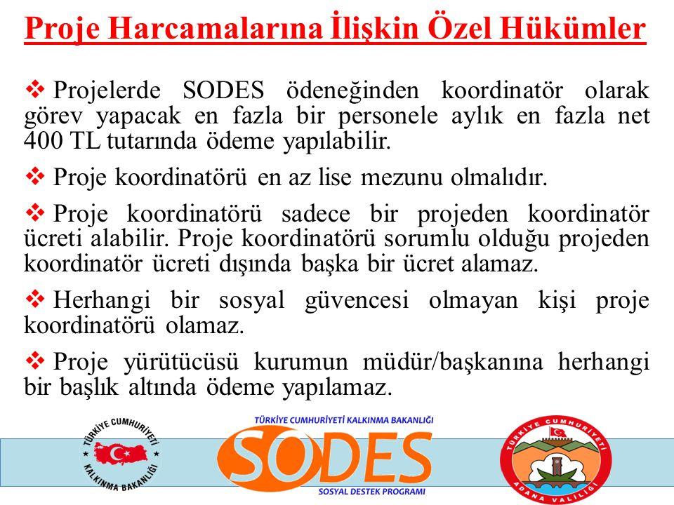 Proje Harcamalarına İlişkin Özel Hükümler  Projelerde SODES ödeneğinden koordinatör olarak görev yapacak en fazla bir personele aylık en fazla net 40