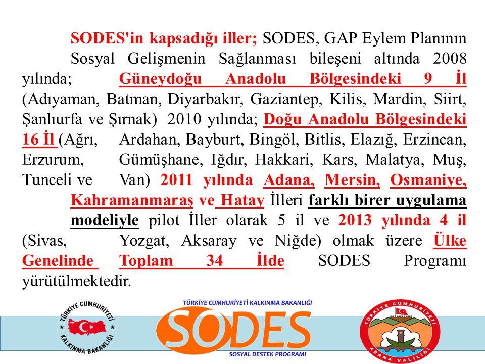 SODES'in kapsadığı iller; SODES, GAP Eylem Planının Sosyal Gelişmenin Sağlanması bileşeni altında 2008 yılında; Güneydoğu Anadolu Bölgesindeki 9 İl (A