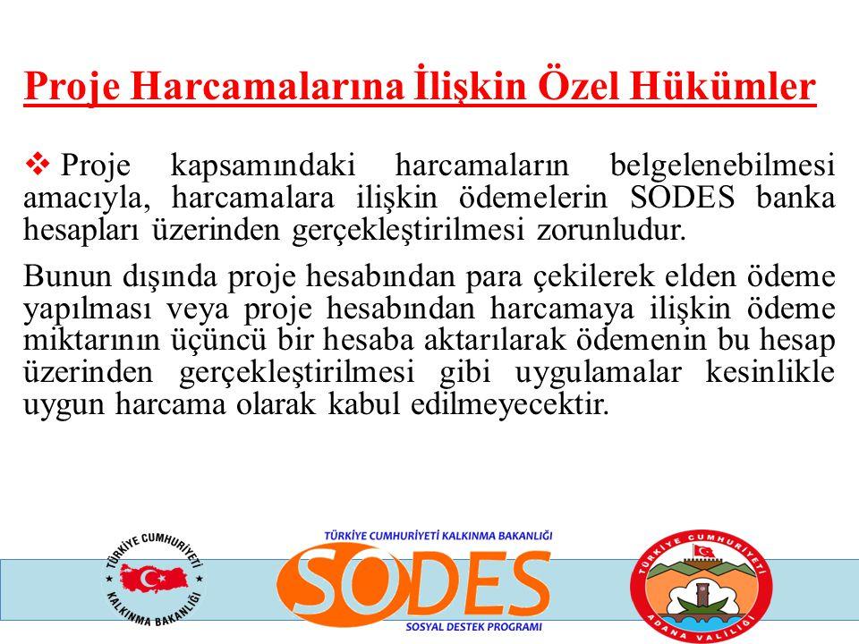 Proje Harcamalarına İlişkin Özel Hükümler  Proje kapsamındaki harcamaların belgelenebilmesi amacıyla, harcamalara ilişkin ödemelerin SODES banka hesa