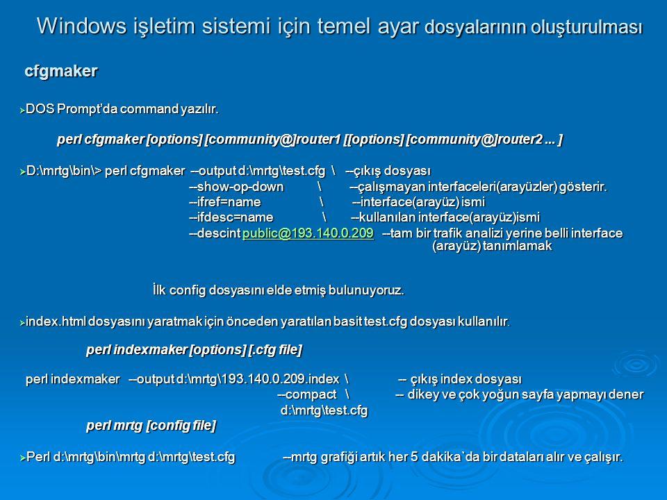 Windows işletim sistemi için temel ayar dosyalarının oluşturulması cfgmaker cfgmaker  DOS Prompt'da command yazılır. perl cfgmaker [options] [communi