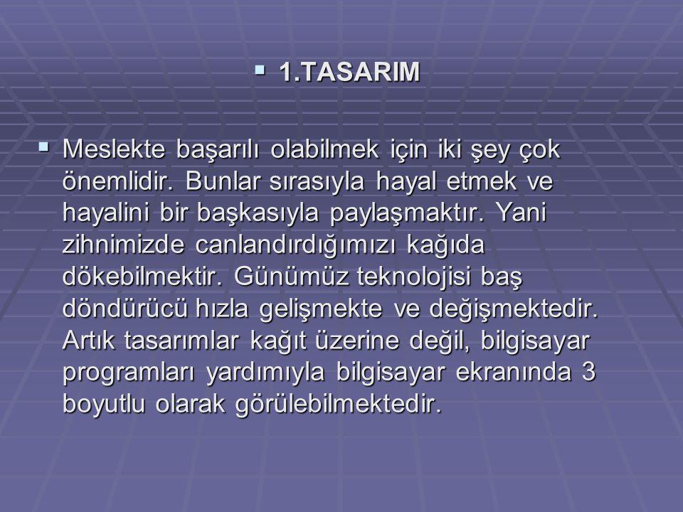  1.TASARIM  Meslekte başarılı olabilmek için iki şey çok önemlidir.