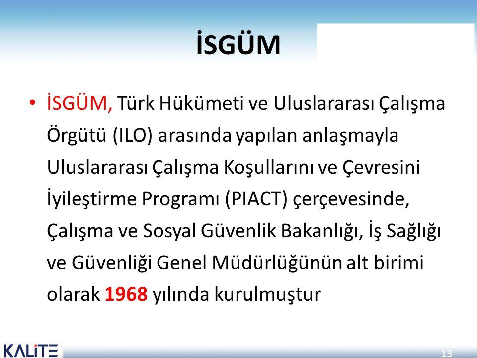 13 İSGÜM İSGÜM, Türk Hükümeti ve Uluslararası Çalışma Örgütü (ILO) arasında yapılan anlaşmayla Uluslararası Çalışma Koşullarını ve Çevresini İyileştir