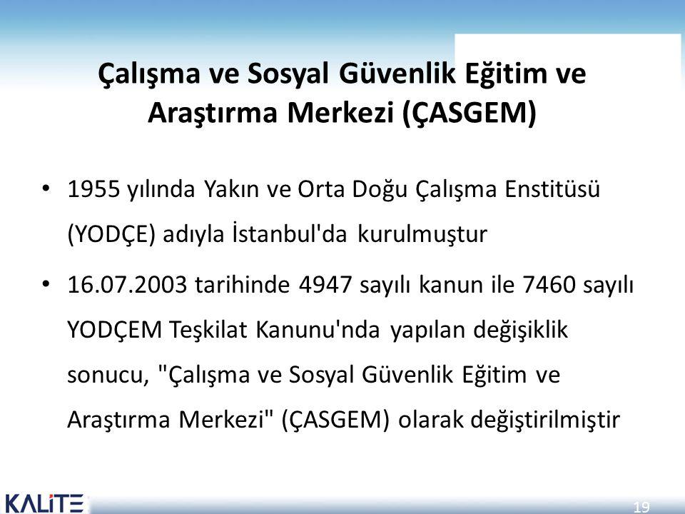 19 Çalışma ve Sosyal Güvenlik Eğitim ve Araştırma Merkezi (ÇASGEM) 1955 yılında Yakın ve Orta Doğu Çalışma Enstitüsü (YODÇE) adıyla İstanbul'da kurulm