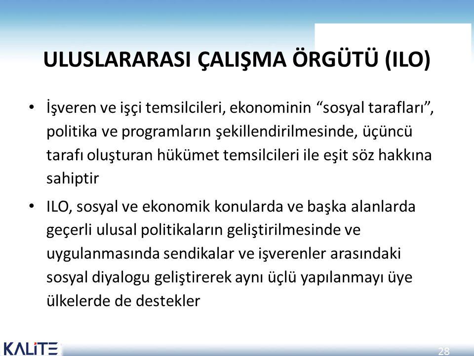 """28 ULUSLARARASI ÇALIŞMA ÖRGÜTÜ (ILO) İşveren ve işçi temsilcileri, ekonominin """"sosyal tarafları"""", politika ve programların şekillendirilmesinde, üçünc"""