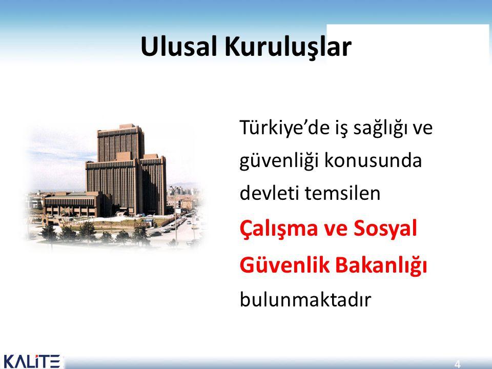 4 Ulusal Kuruluşlar Türkiye'de iş sağlığı ve güvenliği konusunda devleti temsilen Çalışma ve Sosyal Güvenlik Bakanlığı bulunmaktadır