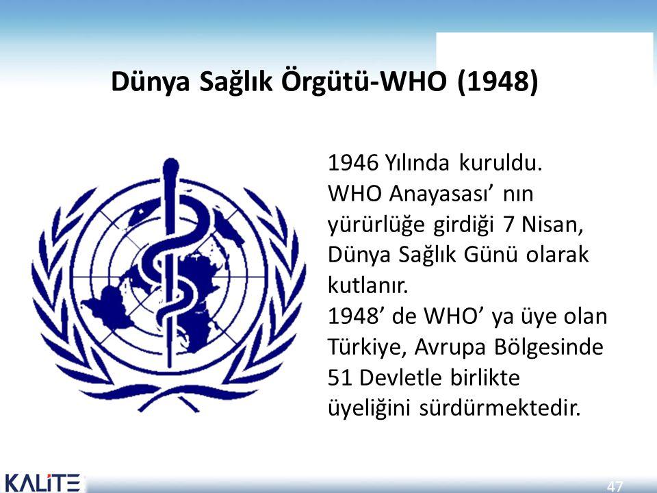 47 Dünya Sağlık Örgütü-WHO (1948) 1946 Yılında kuruldu. WHO Anayasası' nın yürürlüğe girdiği 7 Nisan, Dünya Sağlık Günü olarak kutlanır. 1948' de WHO'