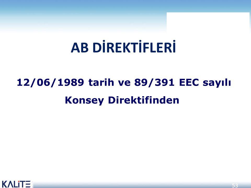 53 12/06/1989 tarih ve 89/391 EEC sayılı Konsey Direktifinden AB DİREKTİFLERİ