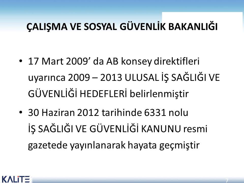 7 ÇALIŞMA VE SOSYAL GÜVENLİK BAKANLIĞI 17 Mart 2009' da AB konsey direktifleri uyarınca 2009 – 2013 ULUSAL İŞ SAĞLIĞI VE GÜVENLİĞİ HEDEFLERİ belirlenm