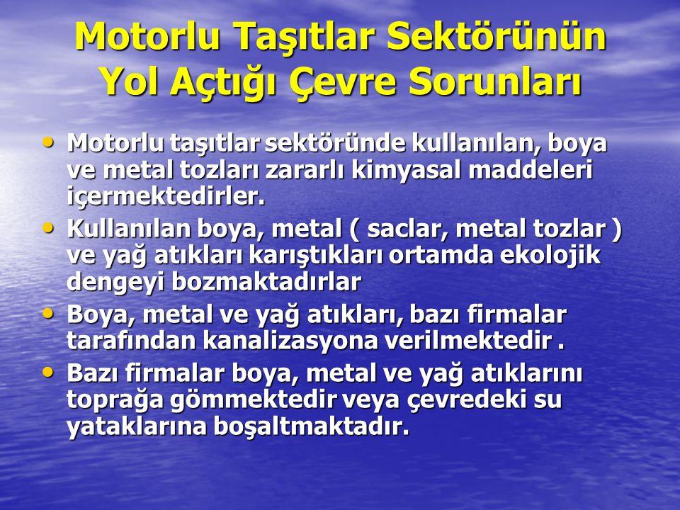 Motorlu Taşıtlar Sektörünün Yol Açtığı Çevre Sorunları Motorlu taşıtlar sektöründe kullanılan, boya ve metal tozları zararlı kimyasal maddeleri içerme