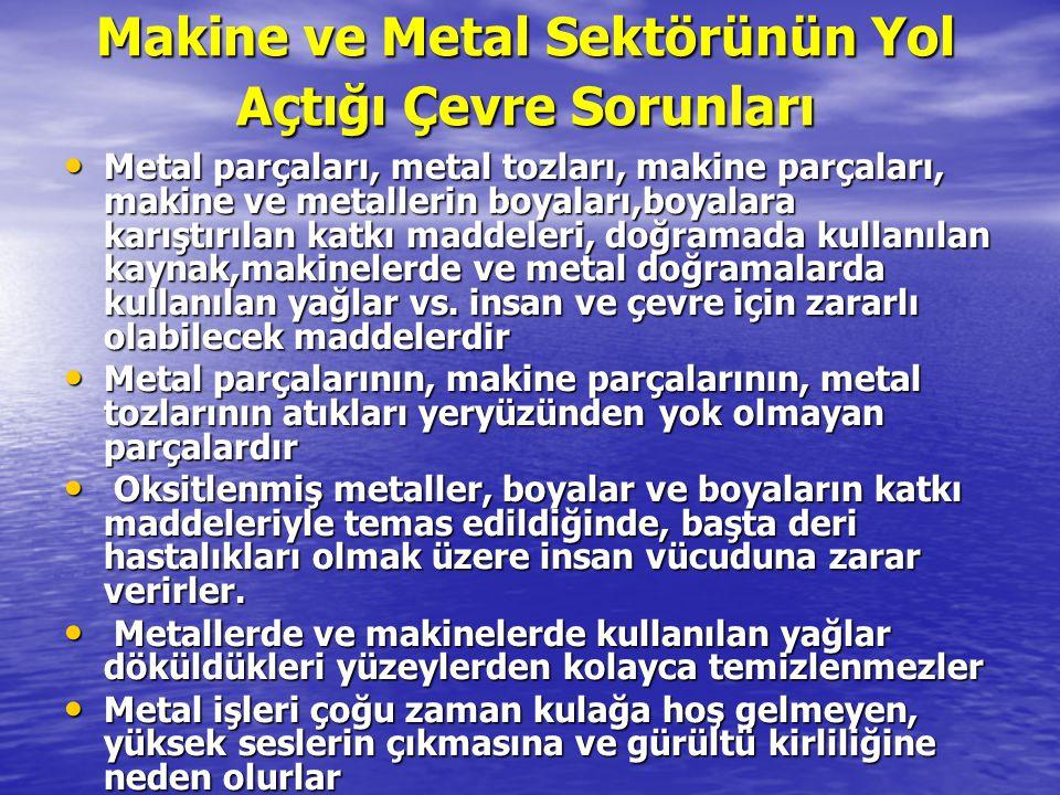 Makine ve Metal Sektörünün Yol Açtığı Çevre Sorunları Metal parçaları, metal tozları, makine parçaları, makine ve metallerin boyaları,boyalara karıştı