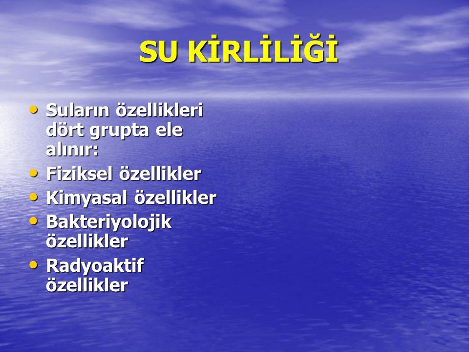 SU KİRLİLİĞİ SU KİRLİLİĞİ Suların özellikleri dört grupta ele alınır: Suların özellikleri dört grupta ele alınır: Fiziksel özellikler Fiziksel özellik