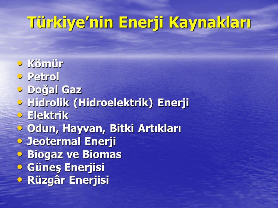 Türkiye'nin Enerji Kaynakları Kömür Kömür Petrol Petrol Doğal Gaz Doğal Gaz Hidrolik (Hidroelektrik) Enerji Hidrolik (Hidroelektrik) Enerji Elektrik E