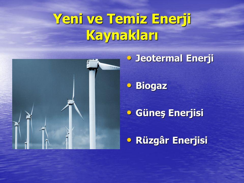 Yeni ve Temiz Enerji Kaynakları Jeotermal Enerji Jeotermal Enerji Biogaz Biogaz Güneş Enerjisi Güneş Enerjisi Rüzgâr Enerjisi Rüzgâr Enerjisi