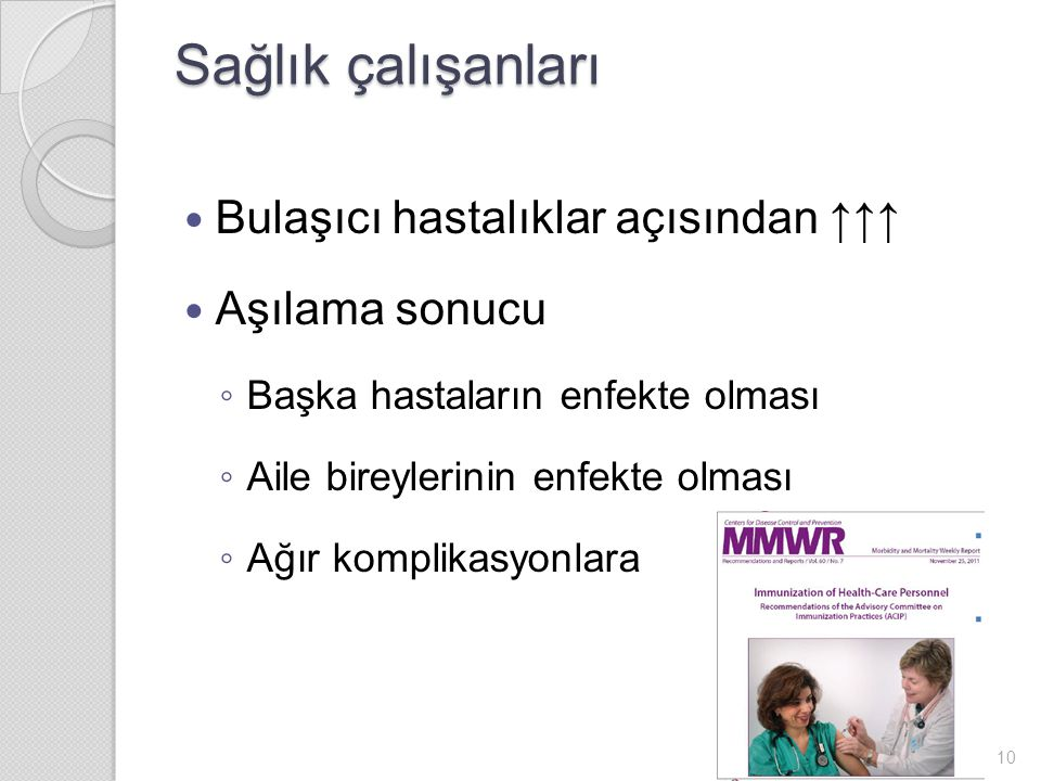 Sağlık çalışanları Bulaşıcı hastalıklar açısından ↑↑↑ Aşılama sonucu ◦ Başka hastaların enfekte olması ◦ Aile bireylerinin enfekte olması ◦ Ağır komplikasyonlara 10