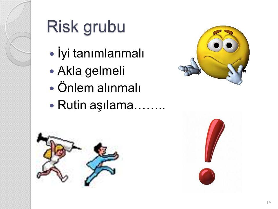 Risk grubu İyi tanımlanmalı Akla gelmeli Önlem alınmalı Rutin aşılama…….. 15
