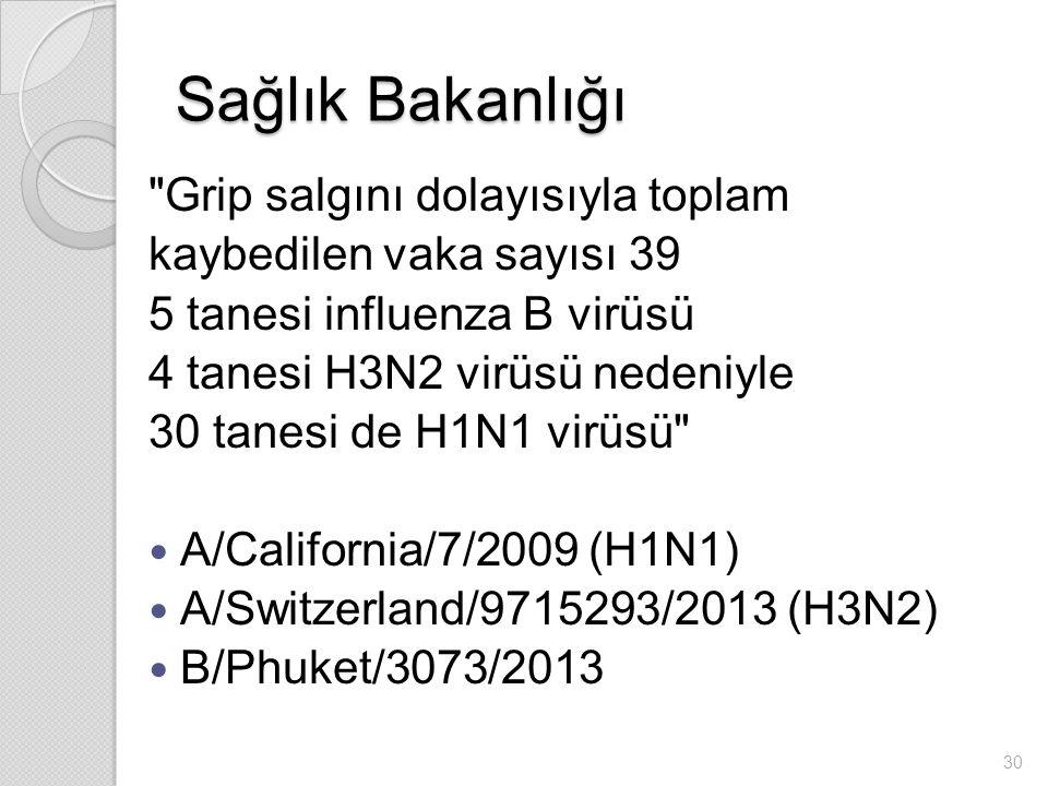 Sağlık Bakanlığı Grip salgını dolayısıyla toplam kaybedilen vaka sayısı 39 5 tanesi influenza B virüsü 4 tanesi H3N2 virüsü nedeniyle 30 tanesi de H1N1 virüsü A/California/7/2009 (H1N1) A/Switzerland/9715293/2013 (H3N2) B/Phuket/3073/2013 30