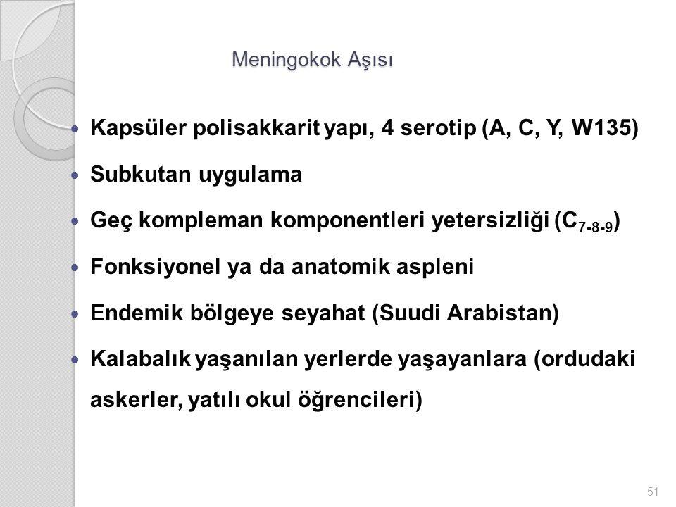 Kapsüler polisakkarit yapı, 4 serotip (A, C, Y, W135) Subkutan uygulama Geç kompleman komponentleri yetersizliği (C 7-8-9 ) Fonksiyonel ya da anatomik aspleni Endemik bölgeye seyahat (Suudi Arabistan) Kalabalık yaşanılan yerlerde yaşayanlara (ordudaki askerler, yatılı okul öğrencileri) 51 Meningokok Aşısı