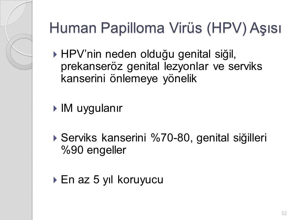  HPV'nin neden olduğu genital siğil, prekanseröz genital lezyonlar ve serviks kanserini önlemeye yönelik  IM uygulanır  Serviks kanserini %70-80, genital siğilleri %90 engeller  En az 5 yıl koruyucu Human Papilloma Virüs (HPV) Aşısı 52