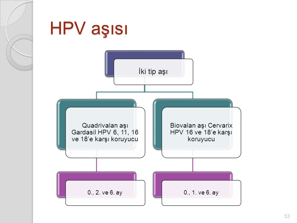 İki tip aşı Quadrivalan aşı Gardasil HPV 6, 11, 16 ve 18'e karşı koruyucu 0., 2.