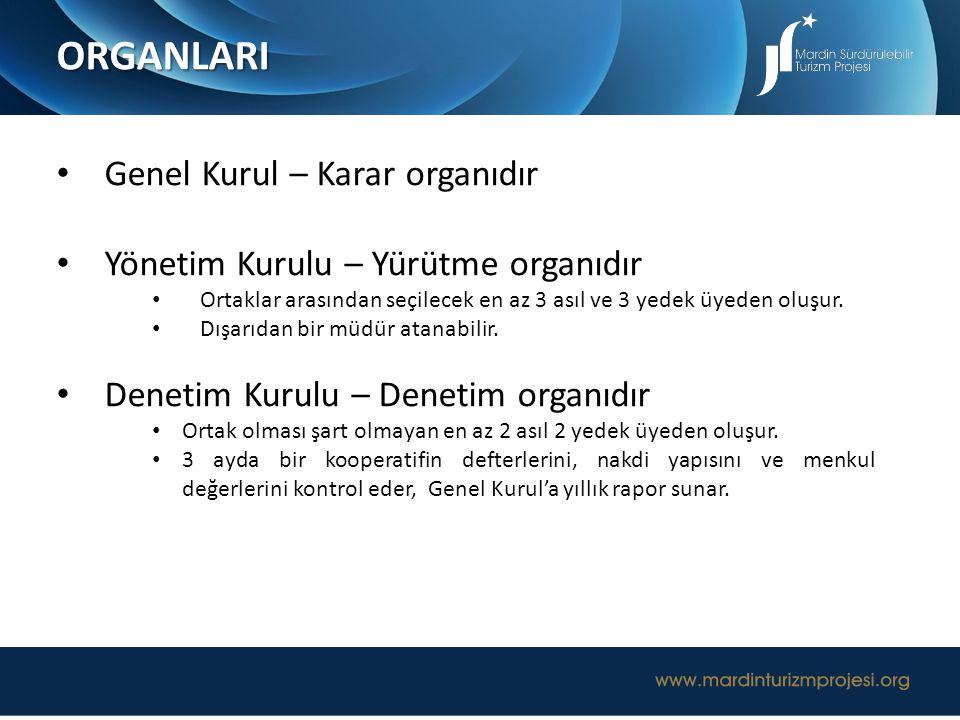 ORGANLARI Genel Kurul – Karar organıdır Yönetim Kurulu – Yürütme organıdır Ortaklar arasından seçilecek en az 3 asıl ve 3 yedek üyeden oluşur. Dışarıd