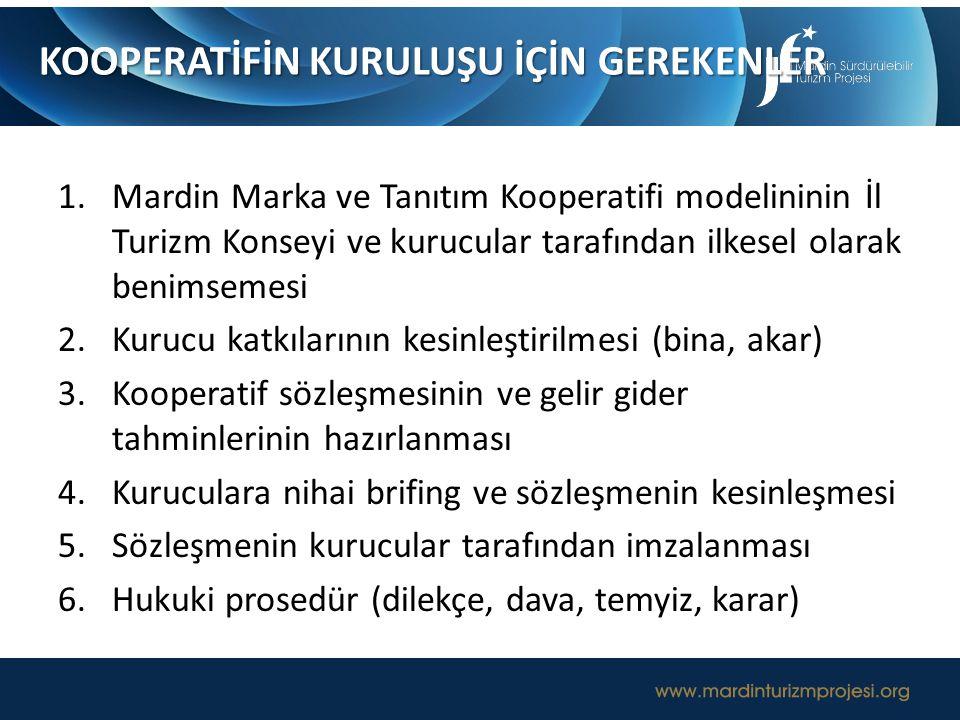 1.Mardin Marka ve Tanıtım Kooperatifi modelininin İl Turizm Konseyi ve kurucular tarafından ilkesel olarak benimsemesi 2.Kurucu katkılarının kesinleşt