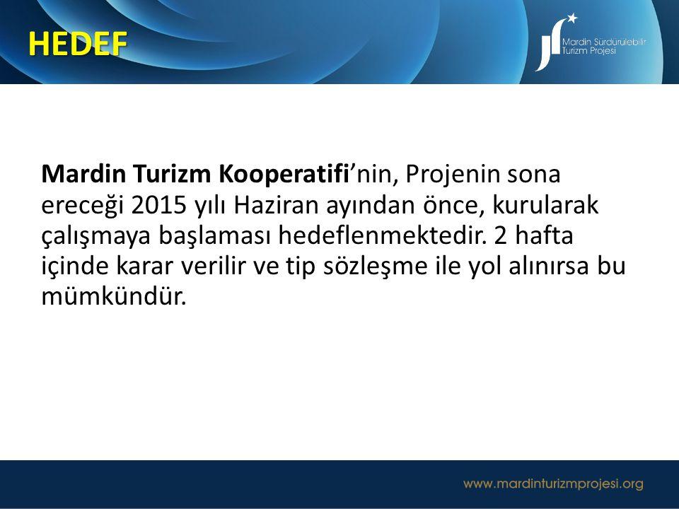 Mardin Turizm Kooperatifi'nin, Projenin sona ereceği 2015 yılı Haziran ayından önce, kurularak çalışmaya başlaması hedeflenmektedir. 2 hafta içinde ka