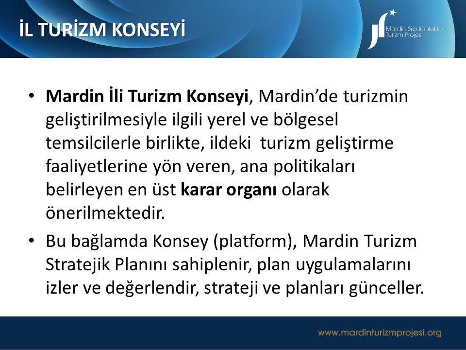Mardin İli Turizm Konseyi, Mardin'de turizmin geliştirilmesiyle ilgili yerel ve bölgesel temsilcilerle birlikte, ildeki turizm geliştirme faaliyetleri