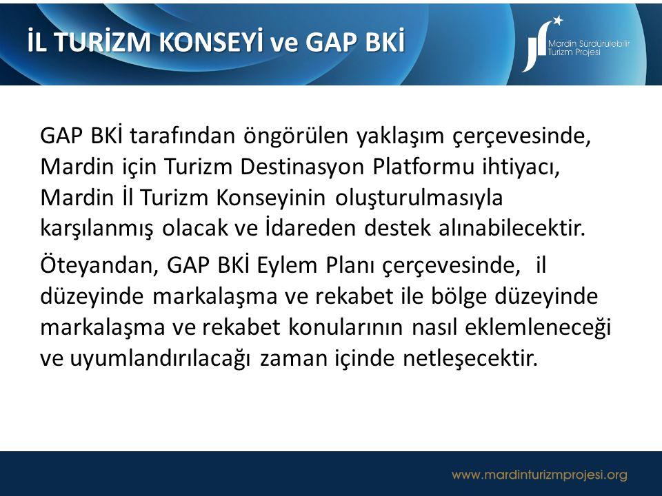 GAP BKİ tarafından öngörülen yaklaşım çerçevesinde, Mardin için Turizm Destinasyon Platformu ihtiyacı, Mardin İl Turizm Konseyinin oluşturulmasıyla ka