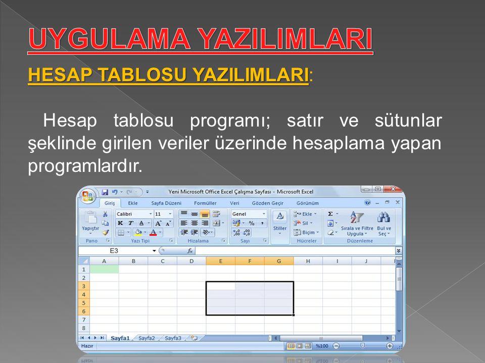 HESAP TABLOSU YAZILIMLARI HESAP TABLOSU YAZILIMLARI: Hesap tablosu programı; satır ve sütunlar şeklinde girilen veriler üzerinde hesaplama yapan progr