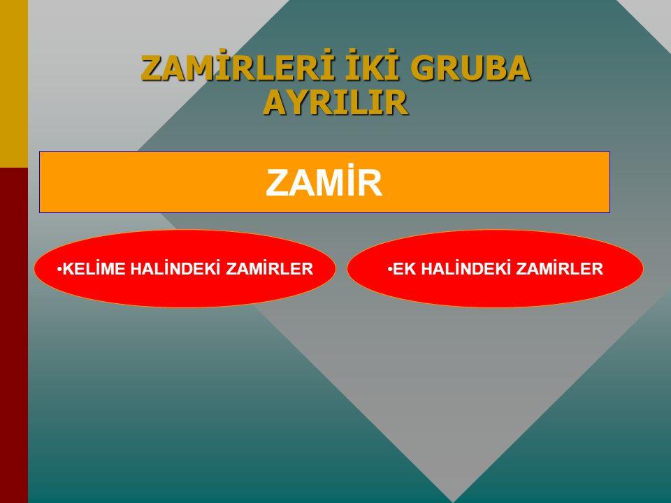 Zamir: İsim olmadıkları halde isimle- rin yerlerine kullanılan sözcük ya da eklere denir. Zamir: İsim olmadıkları halde isimle- rin yerlerine kullanıl