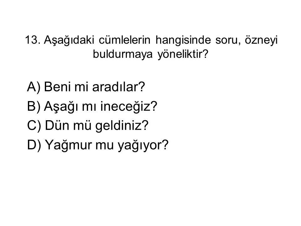 13. Aşağıdaki cümlelerin hangisinde soru, özneyi buldurmaya yöneliktir? A) Beni mi aradılar? B) Aşağı mı ineceğiz? C) Dün mü geldiniz? D) Yağmur mu ya